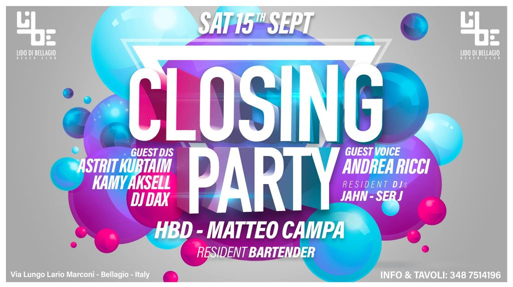 Sabato 15 Settembre - Closing Party